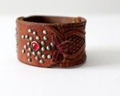vintage studded leather cuff bracelet, brown leather wristband