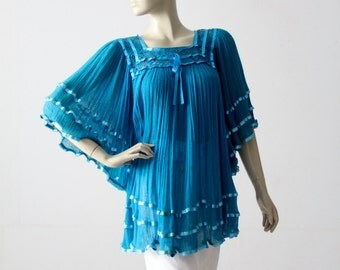 1970s gauze hippie blouse, vintage blue cotton gauze top