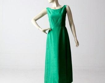1960s silk maxi dress, vintage emerald green full gown