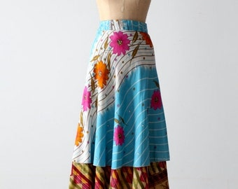 SALE reversible wrap skirt, vintage floral faux silk wrap skirt