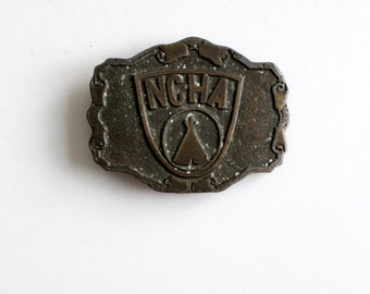 vintage NCHA brass buckle, New York National Campers and Hikers Association belt buckle