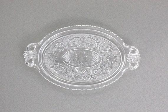 Sandwich Glass Tray / Duncan Miller / Scroll Design / Decorative Glass Tray / c1940s