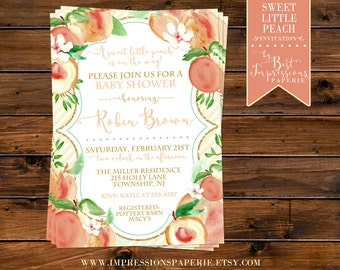 Sweet Little Peach - A Shower Invitation - Peach Gold Mint Ivory