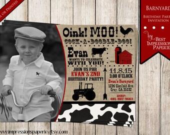 Barnyard - A Customizable Birthday Invitation - Burlap, Cow Print, Farm Barn Party, Oink Moo, Cow, Chicken