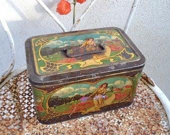 French  Vintage Art Nouveau Biscuit  Tin Box