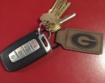 Engraved Leather  Keychain- Leather  Keychain- Personalized Keychain - Monogramed key ring - Key chain - Key ring  - keyring