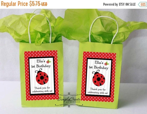 SALE Ladybug Favor Tag DIGITAL FILE 4x6 Jpeg Digital File Personalized