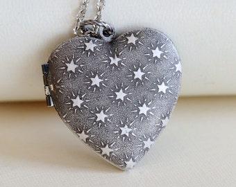 Silver Heart Locket Necklace,Jewelry,Pendant, Stars Locket,Silver Locket,Antique Style,Flower Locket,Wedding Necklace,bridesmaid