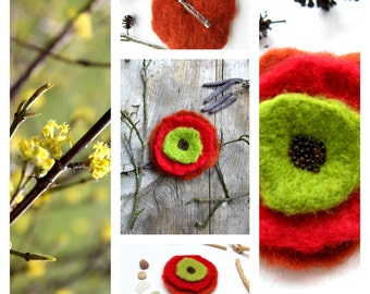 Flower felt brooch orange/red/green