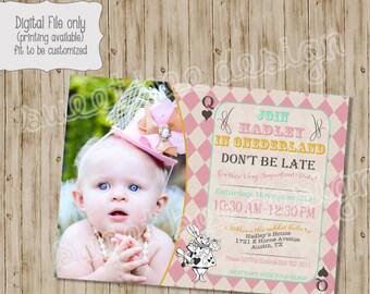 Alice in ONEderland Birthday Invitation, Mad Hatter Tea Party Invitation, Alice in Wonderland photo birthday invitation tea party invitation