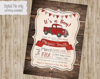 Vintage Truck Baby Shower Invitation, Rustic Wood baby shower, Retro Baby Boy Shower Invite, Custom, Printable
