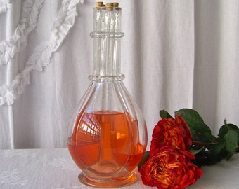 Vintage French Decanter Four Chamber Bottle Fait Main French Collectable 1950s Barware