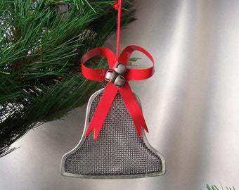 Vintage Bell Christmas Ornament Metal Wire Mesh Bell Red Metal Ribbon Bells Holiday Decor 1980s