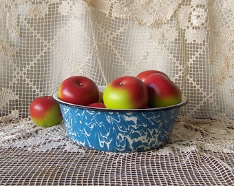 Vintage Graniteware Pudding Pan Blue Swirl Enamelware Shabby Cottage Decor Enamel Ware Circa Early 1900s