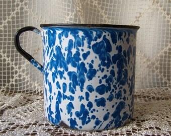 Vintage Enamelware Soup Cup HUGE Blue Swirl Graniteware Extra Large Enameled Metal Soup Mug Camping Cup 1930s