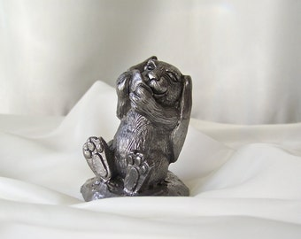 Vintage Pewter Bunny ZORRO Signed Numbered Michael Ricker 1984 Miniature Pewter Sculpture Ambrose