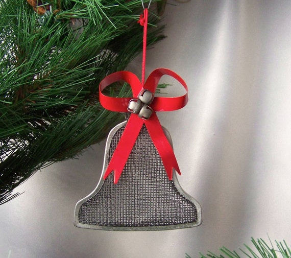 Vintage bell christmas ornament metal wire mesh by