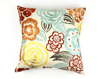 Lee Jofa Groundworks Nolita Custom Pillows (shown in Aqua/Rust-comes in several colors)
