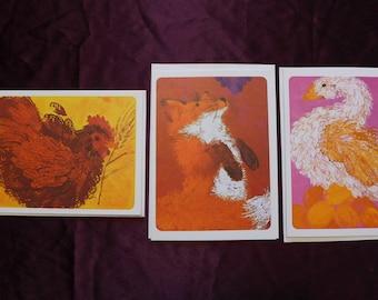 Vintage Current Storybook Cards/ Fox Grapes/ Littel Red Hen/ Goose Laid Golden Egg