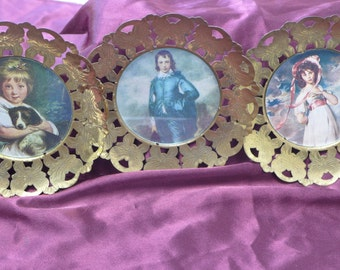 Vintage Metal Butterfly Frames with Victorian Children Pictures