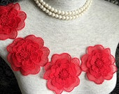 Vintage Applique - 4 pcs Red Big Flower Applique Trim (A345)