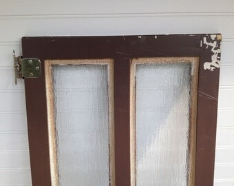 Shabby Vintage Cabinet Door with Frosted Glass and Stainless Hinges