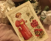 Antique Edwardian Postcard Postcards- Happy Days Little Girl Red Dress Holding Cup Flowers