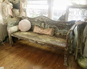 Antique Early 19th C. Swedish Chippy Painted Wood Sofa Bench Shabby Chic