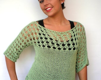 OOAK Lace Sweater Trendy Green Cotton Hand Knit Woman Sweater NEW COLLECTION