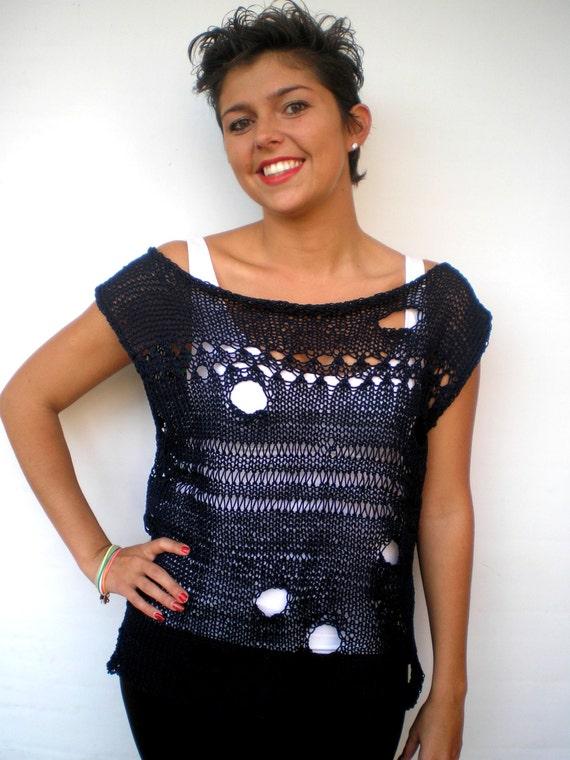 Faith OOAK Lace Top Sweater Trendy  Cotton Hand Knit Woman Top Vest