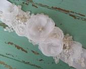 Floral Bridal Sash, Wedding Accessory, Wedding Sash, Lace Sash, Pearl & Rhinestone Sash, Vintage Style Sash, YOUR CHOICE COLOR,