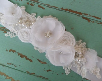 Floral Bridal Sash, Wedding Accessory, Wedding Sash, Lace Sash, Pearl & Rhinestone Sash, Vintage Style Sash, YOUR CHOICE COLOR,