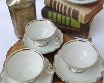 Set of 4 Vintage Glazed Ceramic SCHUMANN ARZBERG GERMANY Platinum Elegance Tea Cups and Saucers Golden Crown E&R 1886 Stamp