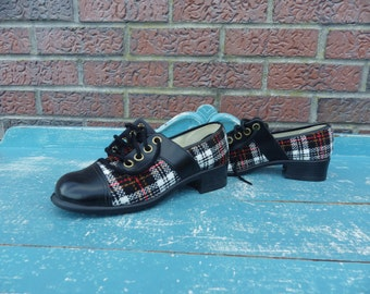 Super Chunky plaid and leather two tone 1970s oxfords- mint in box!