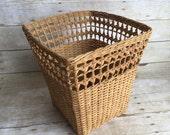Deep Wicker Basket Tall Basket Vintage