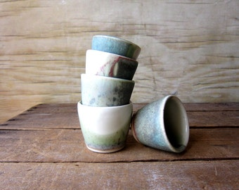 Small Ceramic Planter Set of 5 - Wedding Decor - Vintage Cups Demi Tas Saki Cups