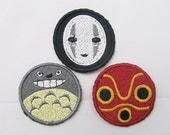 Totoro and friends  Set of 3 Iron on OR Sew on machine embroidered patches