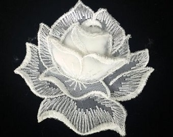 Vintage White Rose Lace Applique