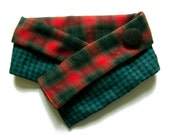 unisex neck warmer in red and forest green -tartan wool