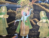 "Krishna Black and Gold Silk Painting, Wall Hanging, Horizontal Panel, 57""x16""inches"