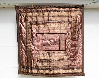 """Silk Throw, Patchwork Organza Sari Remnants Converted into a Sophisticated Quilt-61""""x62""""inches"""