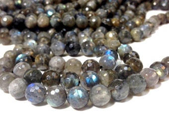 Full strand of Stunning A Grade 10 mm. Labradorite Faceted Round Beads (MJ1603W90-BH)