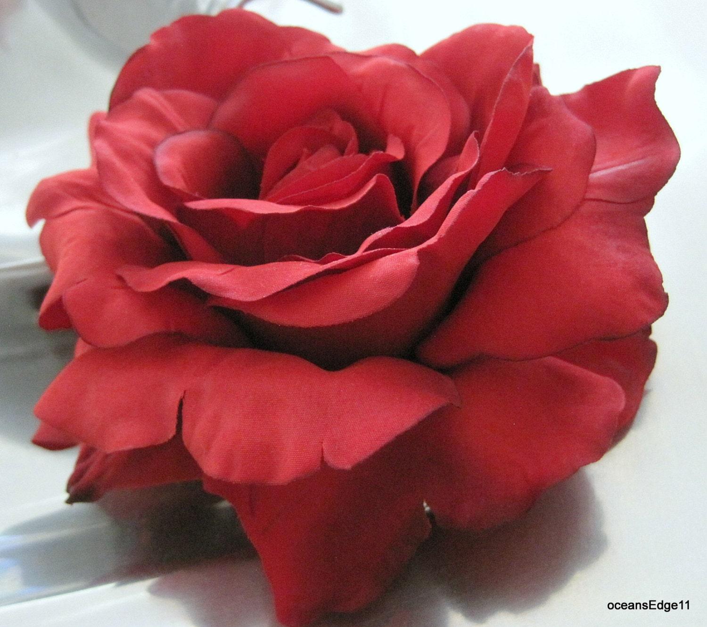 Full 5 In Red Silk Flower Rose Brooch Pin E10190947031170892m