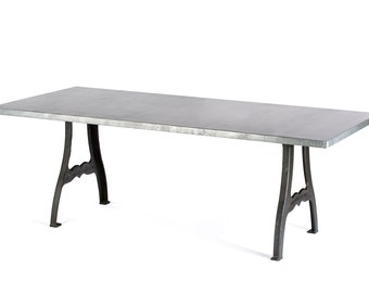 Zinc Table Zinc Dining Table - Williamsburg Zinc Top Table