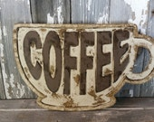 Coffee sign rustic shabby chic home decor wall hanging Christmas gift kitchen photo prop cottage aged style farmhouse antiqued