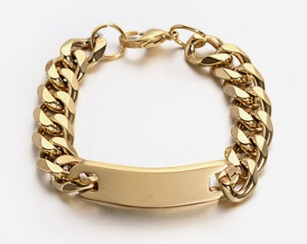 Gold Stainless Steel Rectangle Link Bracelet