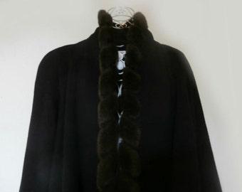 Gorgeous Vintage Wool and Fur Coat by Designer Albert Nippon