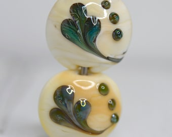 soft ivory and blue green silver glass pair of lentil shaped lamp work beads SRA handmade focal set 62016-5
