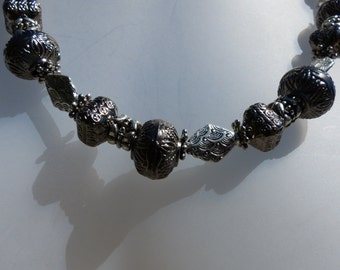 dare2b Big, black and silver tone bead necklace