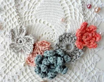Crochet Flower Necklace #2 crochet necklace,flower necklace,mori necklace, romantic, bohemian,shabby chic,